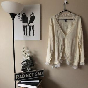 Plus size NWT delicate Lacey cream cardigan